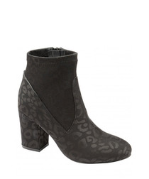 Black leopard print ankle boots