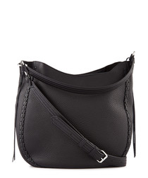 Black leather hobo crossbody