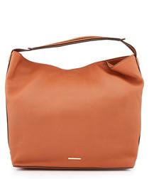Isobel almond leather hobo bag
