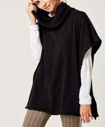 Black open sleeve high neck jumper