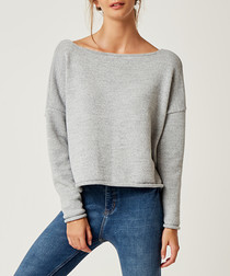Grey long sleeve cape jumper