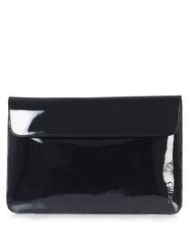 Black patent leather envelope laptop bag