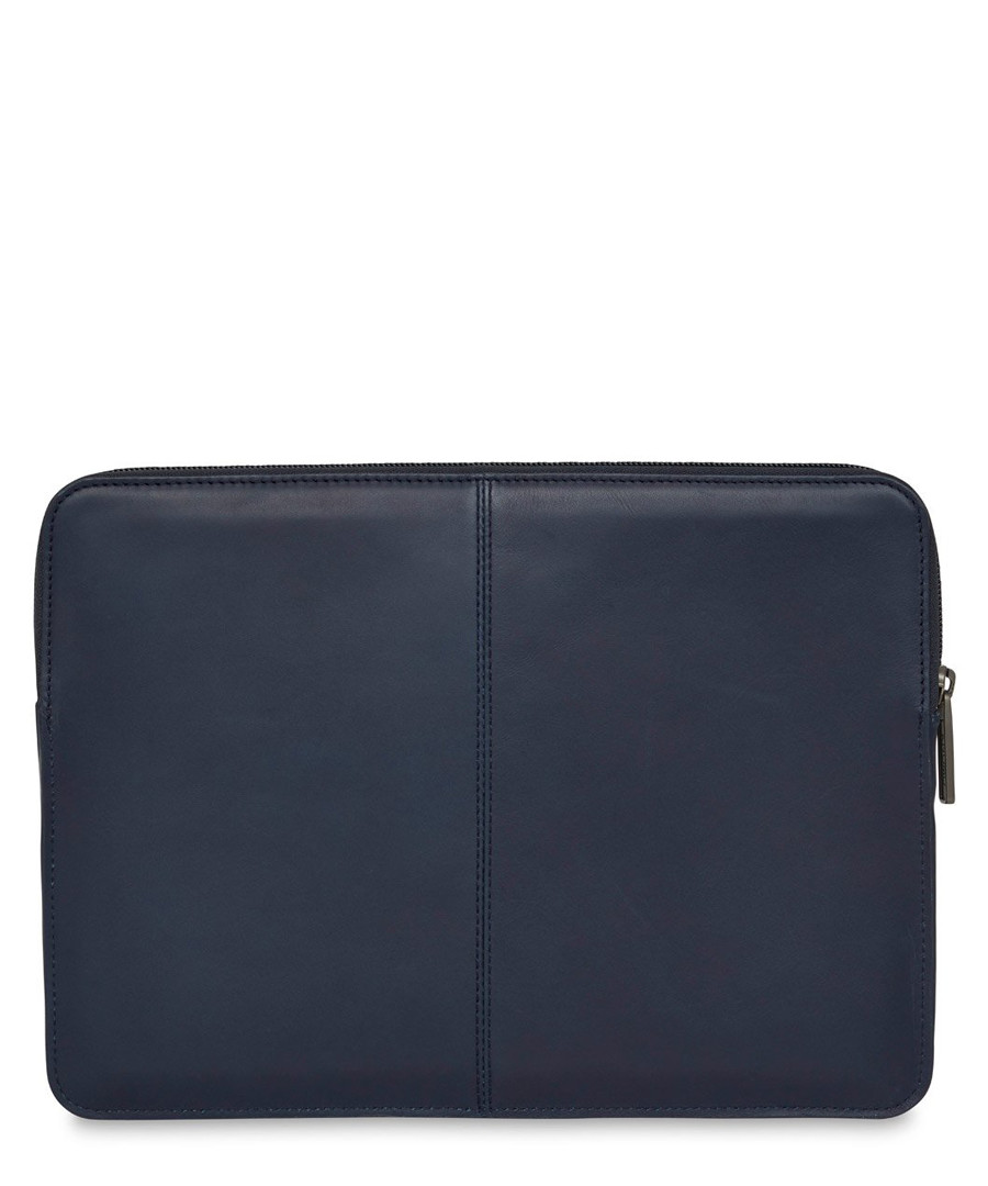 Blue leather laptop sleeve Sale - knomo