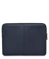 Blue leather laptop sleeve
