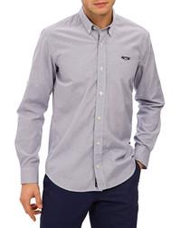 Blue cotton blend striped shirt