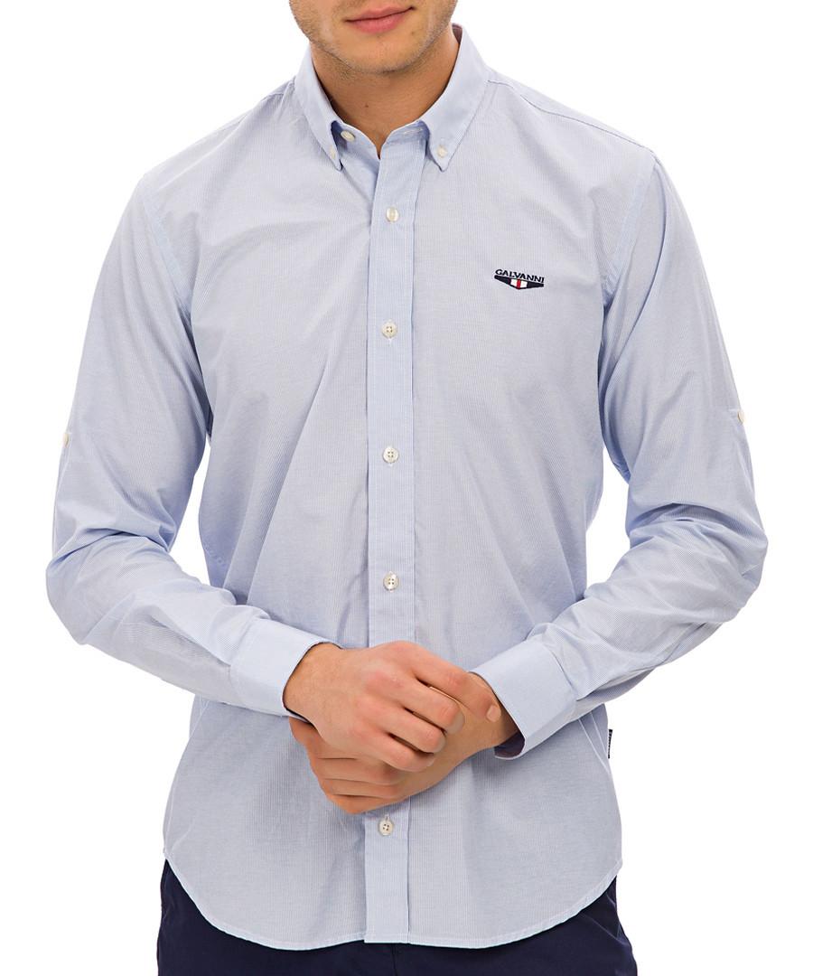Light blue cotton blend striped shirt Sale - galvanni