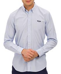 Light blue cotton blend striped shirt