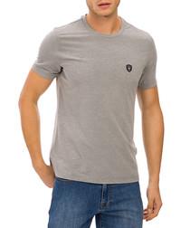 Grey melange cotton logo T-shirt