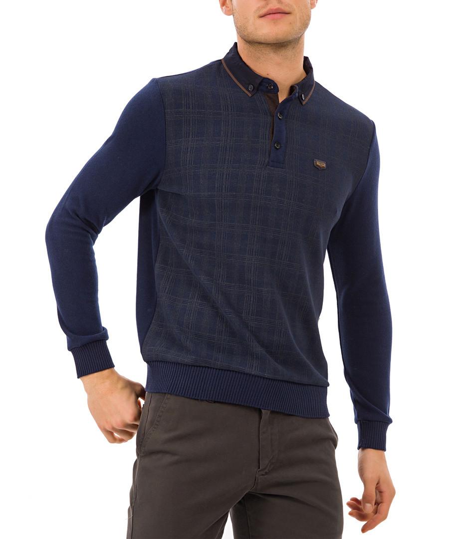 Blue check polo shirt Sale - galvanni