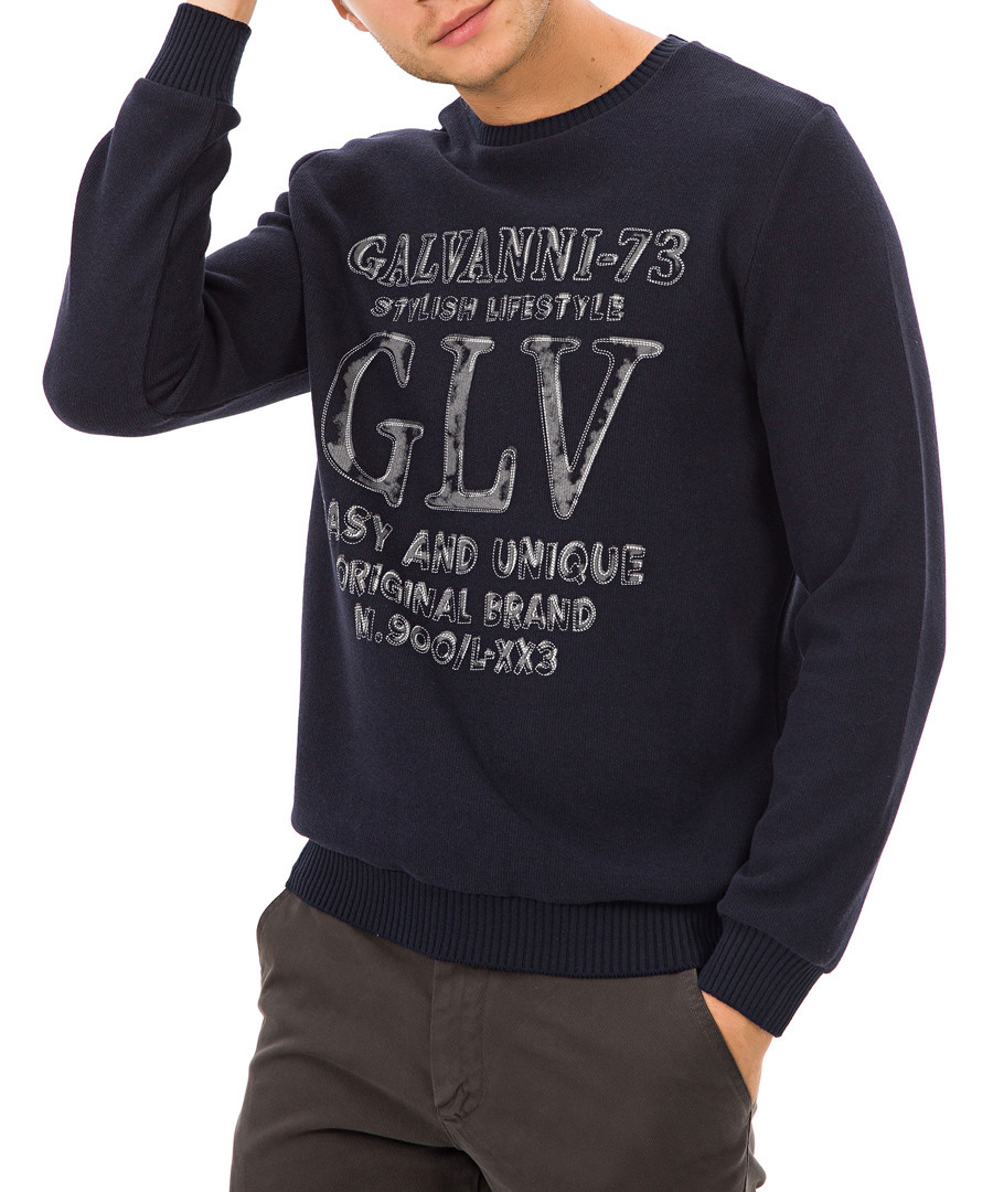 Navy slogan jumper Sale - galvanni