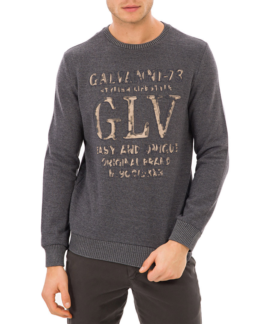 Grey slogan jumper Sale - galvanni