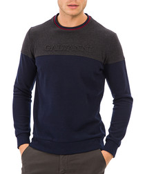 Navy melange two-tone jumper