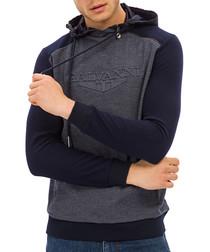 Navy two-tone logo hoodie