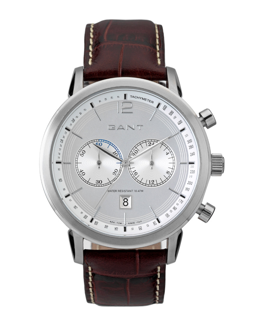 Steel & brown leather chrono watch Sale - Gant