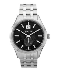 Stainless steel & black link watch