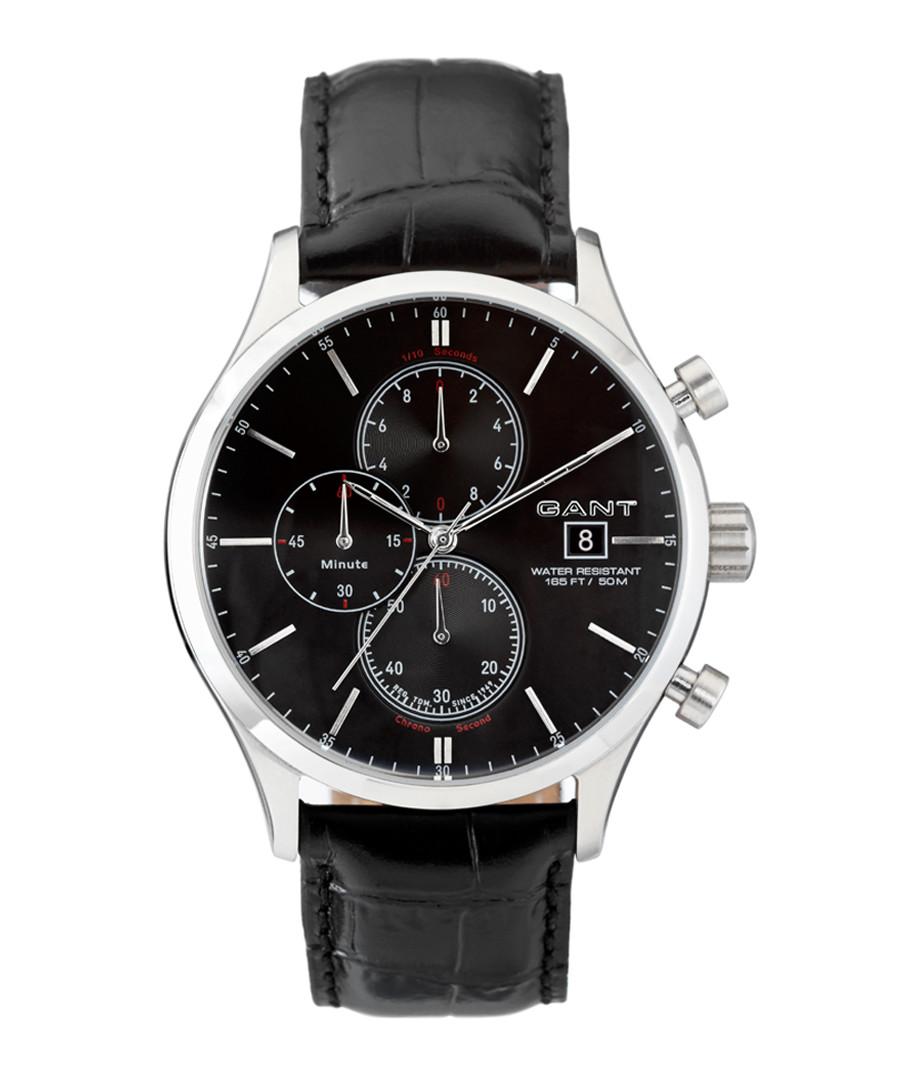 Steel & black leather chrono watch Sale - gant