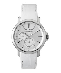 Steel & white leather watch