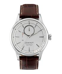 Steel & brown numberless watch