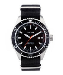 Stainless steel & black nylon watch
