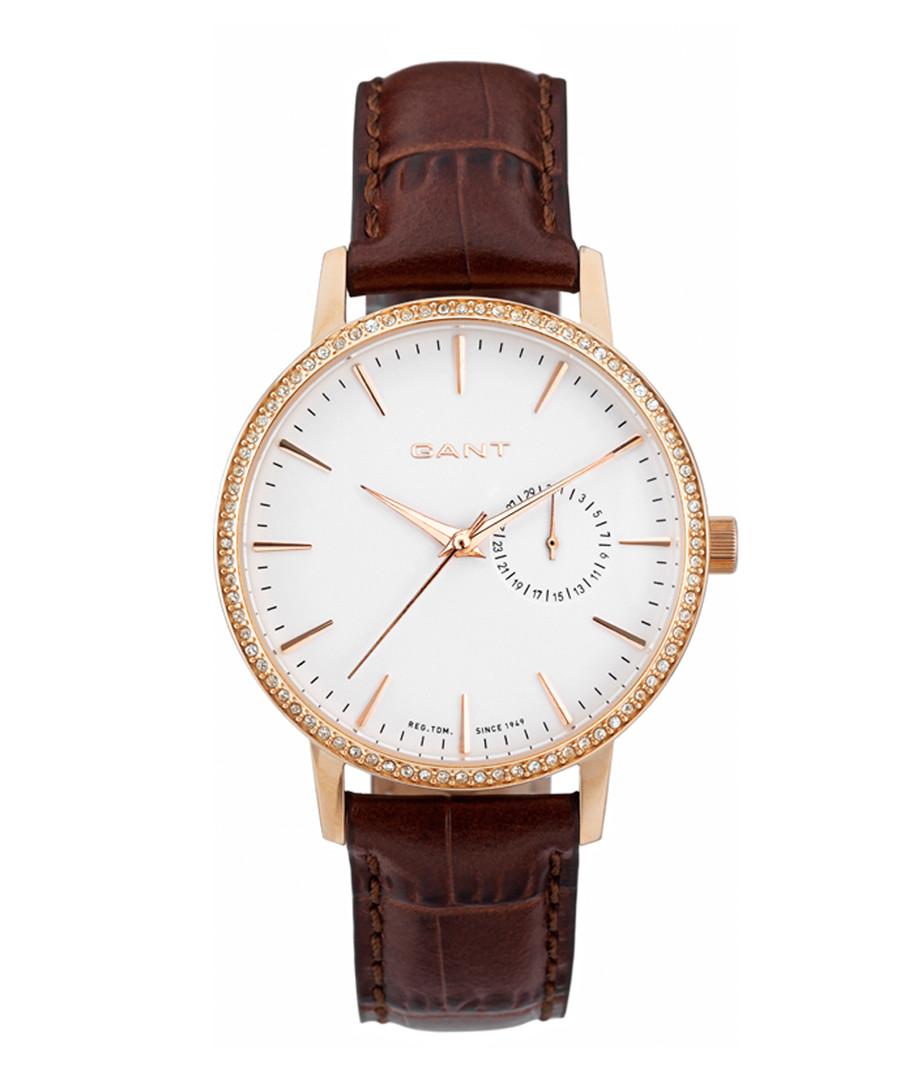 Gold-tone steel & walnut leather watch Sale - gant