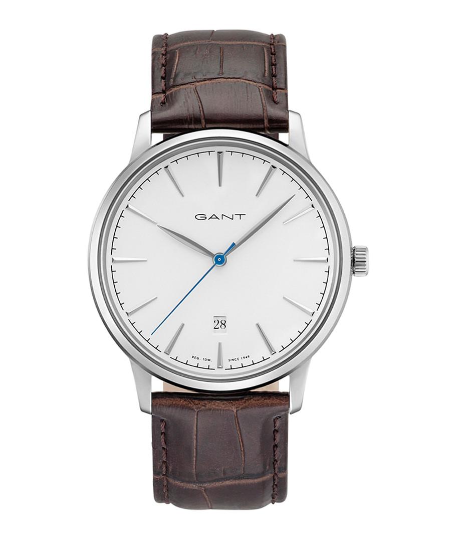 Steel & brown leather moc-croc watch Sale - gant