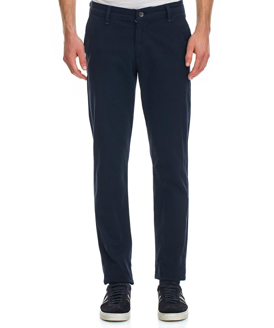 Navy cotton blend trousers Sale - Galvanni
