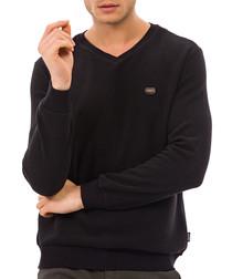 Black logo V-neck top