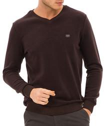 Dark brown logo V-neck top