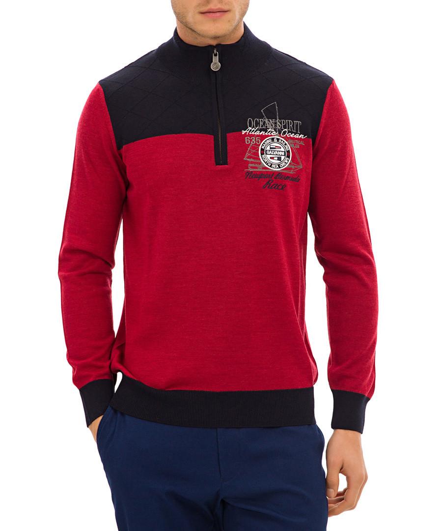 Dark red wool-blend half-zip jumper Sale - galvanni
