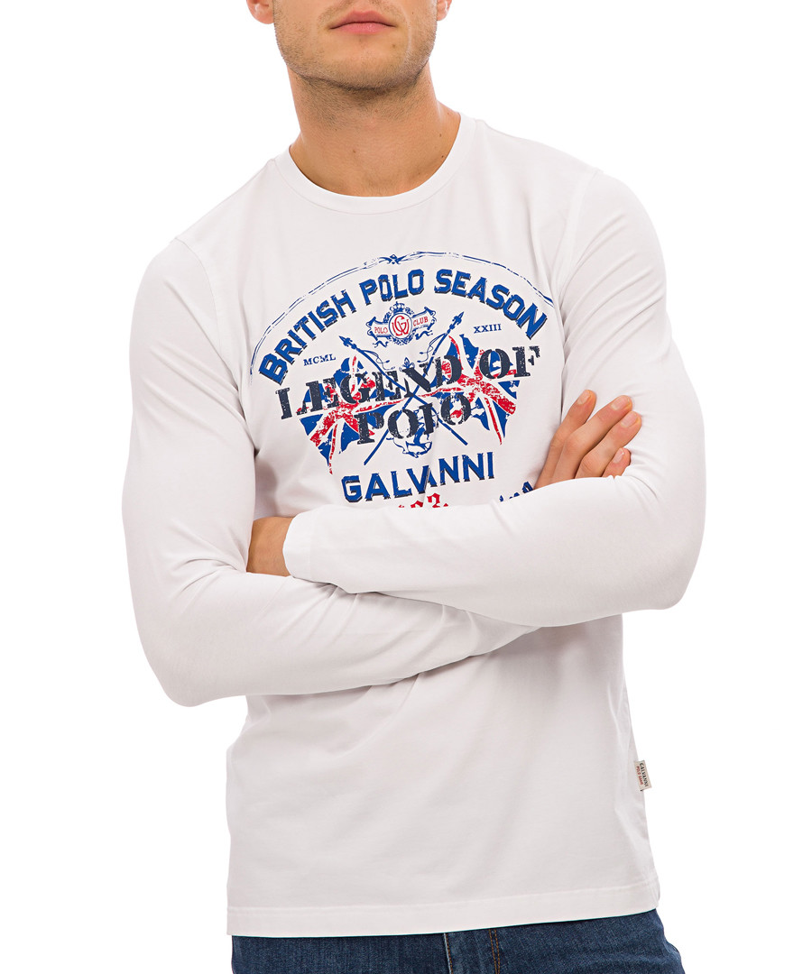 White cotton blend long sleeve top Sale - Galvanni