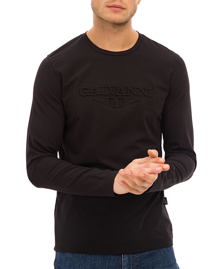 Black cotton blend long sleeve top Sale - galvanni