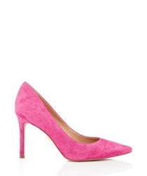 Hazel retro pink suede court heels