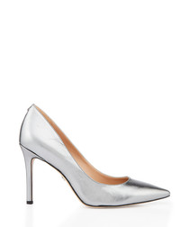 Hazel anthracite metallic leather heels