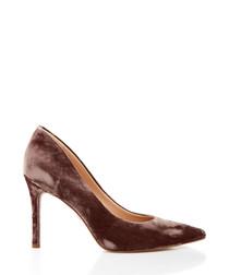 Hazel brown silky velvet court heels