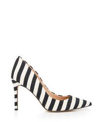 Hazel black & ivory stripe court heels