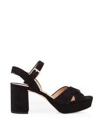 Jolene black suede strappy chunky heels