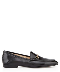 Loraine black crinkle patent loafers