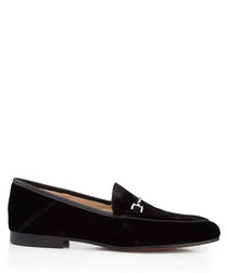 Loraine black silk velvet loafers