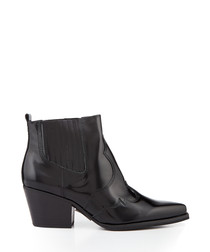 Winona black leather pull-on ankle boots