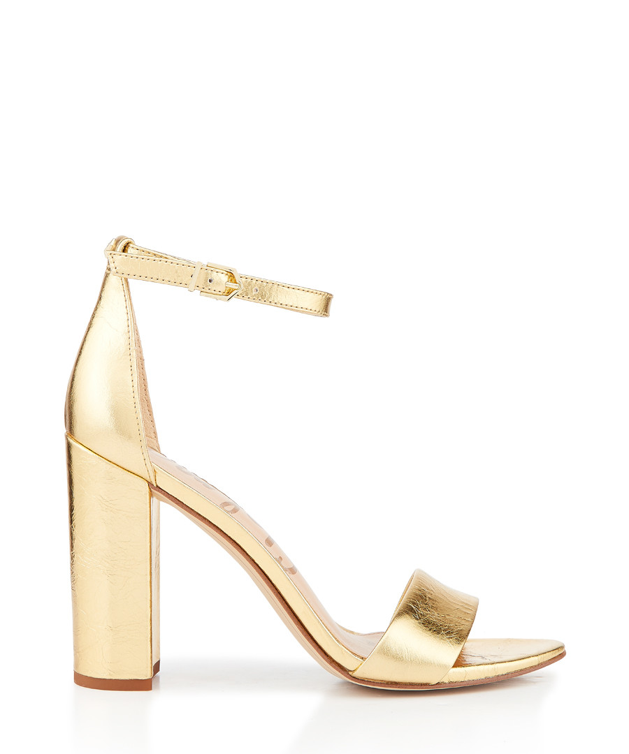 Yaro distressed metallic strappy heels Sale - Sam Edelman