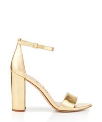 Yaro distressed metallic strappy heels