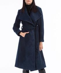 Blue wool blend tie waist coat