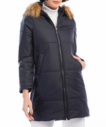 Navy quilted faux fur hooded coat