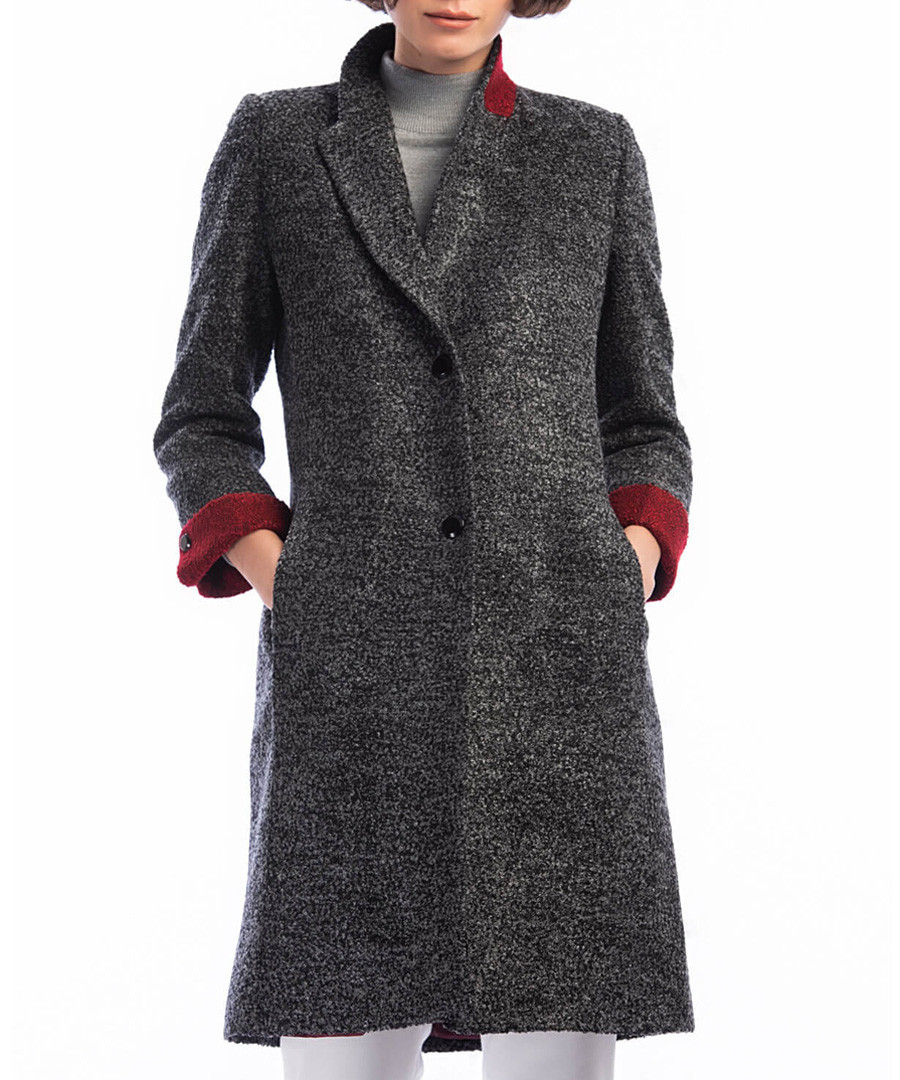 Black wool blend button-up coat Sale - Dewberry