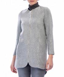 Grey collarless zip-up coat