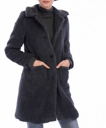 Anthracite textured teddy coat