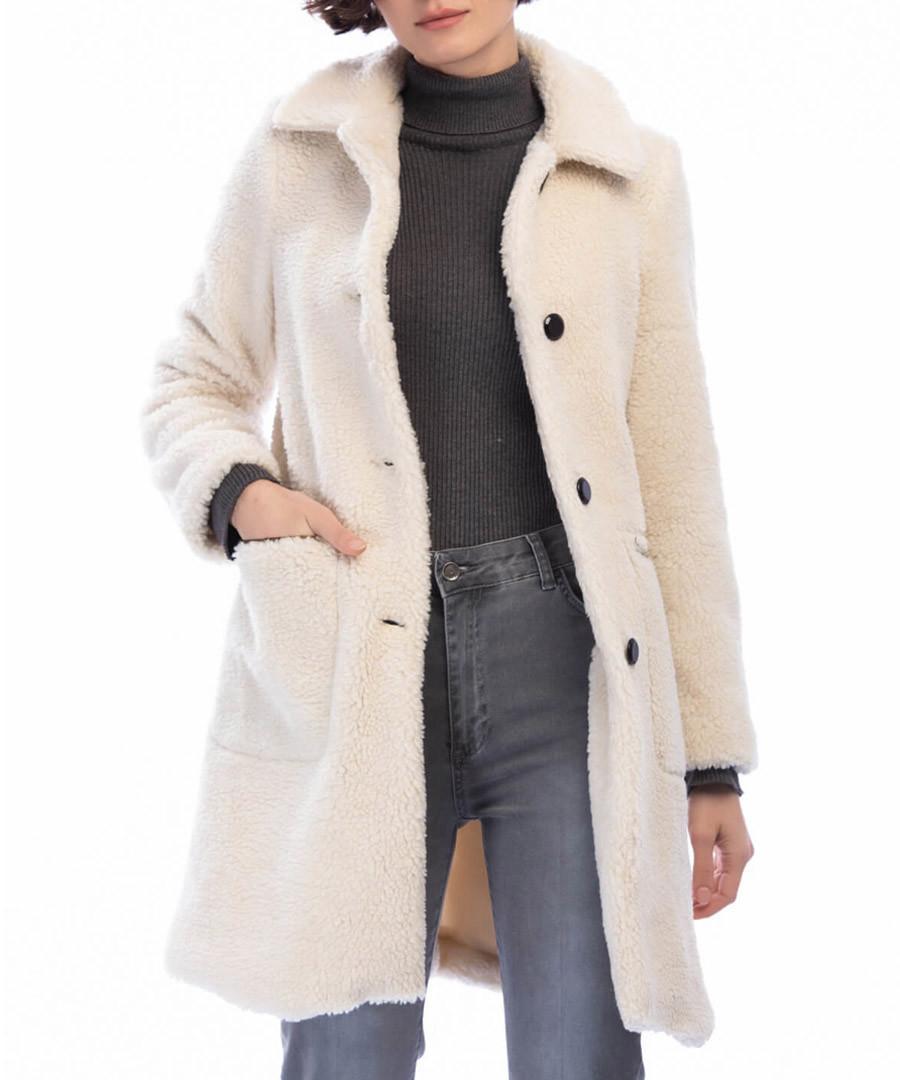 Beige textured teddy coat Sale - Dewberry