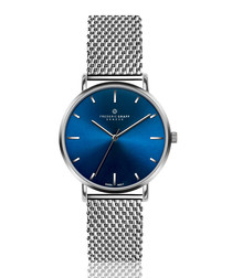 Mont Fort silver-tone steel mesh watch