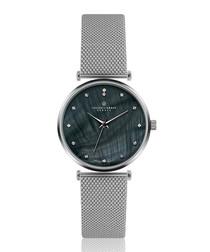 Mont Dolent silver-tone steel mesh watch