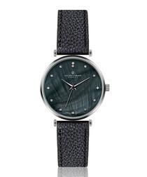 Mont Dolent black leather & grey watch